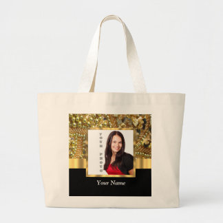 gold bling photo template tote bags