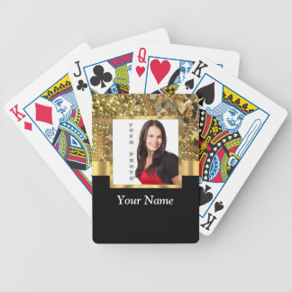 gold bling photo template bicycle playing cards