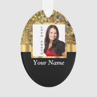 gold bling photo template ornament