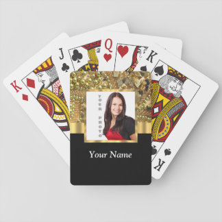 gold bling photo template playing cards