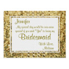 Gold Bling | Will You Be My Bridesmaid? Postcard