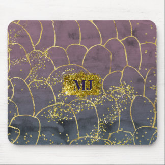 Gold Blinged Watercolor Ink Blue Hombre Watercolor Mouse Mat