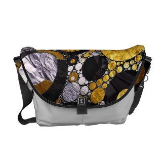 Gold/Blk/silver Abstract Metal Messenger Bag