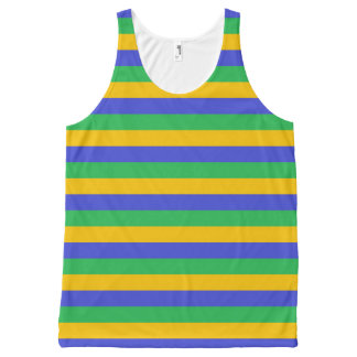 Gold, Blue and Green Stripes All-Over Print Tank Top