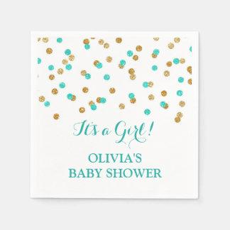 Gold Blue Aqua Turquoise Confetti Baby Shower Paper Napkins