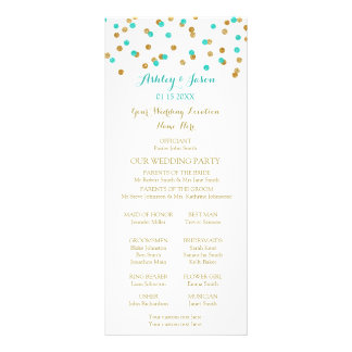 Gold Blue Aqua Turquoise Confetti Wedding Program Customized Rack Card