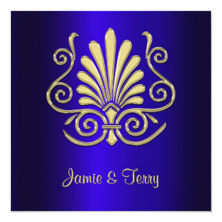 "Gold Blue Art Deco Damask Wedding Invite 2 5.25"" Square Invitation Card"