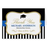 Gold Blue Black White Stripes Graduation Thank You Note Card