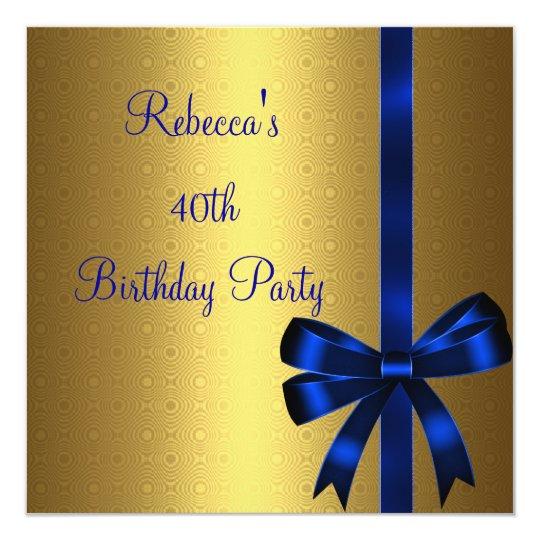 Gold Blue Bow 40th Elegant Birthday Party Card
