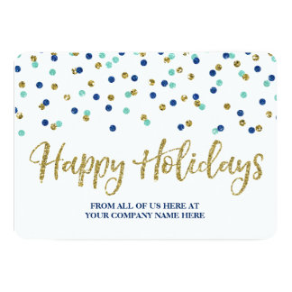 Gold Blue Confetti Christmas Cards Business