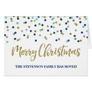 Gold Blue Confetti Merry Christmas New Address Card