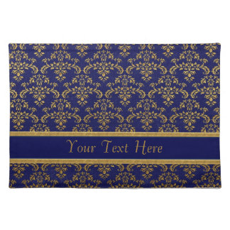 Gold & Blue Damask Pattern Placemat
