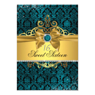 Gold Blue Damask Sweet Sixteen Invite