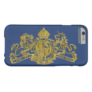 Gold Blue Dieu et Mon Droit British Coat of Arms Barely There iPhone 6 Case