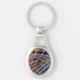 Gold & Blue Disruption Silver-Colored Oval Key Ring