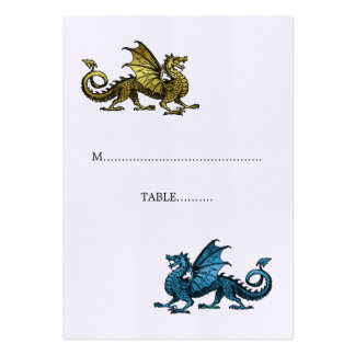 Gold Blue Dragon Wedding Place Card Pack Of Chubby Business Cards