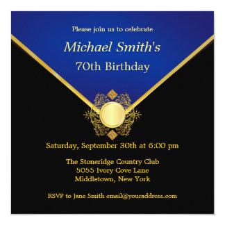 Gold Blue Emblem Elegant Birthday Party Invites
