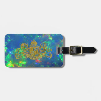 Gold Blue Fire Opal Dieu et Mon Droit Coat of Arms Luggage Tag