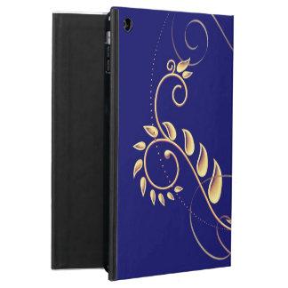 Gold blue floral iPad air case