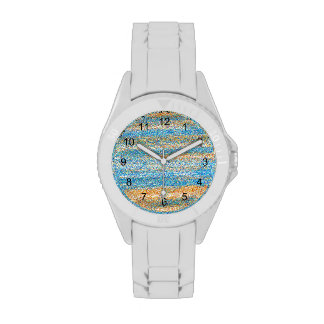 Gold Blue Glitter Abstract Watches