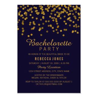 Gold & blue Glitter confetti Bachelorette Party 13 Cm X 18 Cm Invitation Card