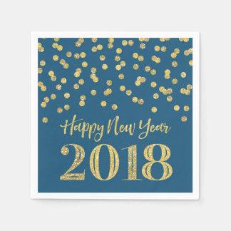 Gold Blue Glitter Confetti Happy New Year 2018 Disposable Napkin