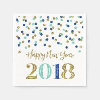 Gold Blue Glitter Confetti Happy New Year 2018 Disposable Serviette