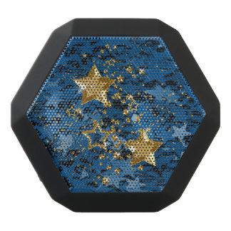 Gold & Blue Glitter Stars Boombot BluetoothSpeaker