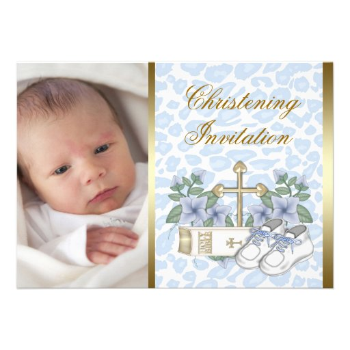 Gold Blue Leopard Baby Boy Photo Christening Invitations