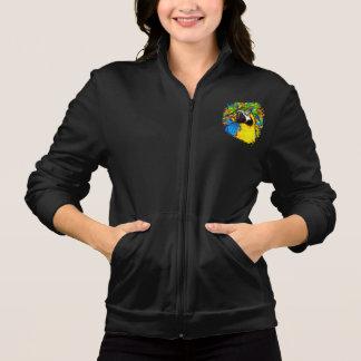 Gold &  Blue Macaw Fantasy Women Fleece Zip Jogger Jackets