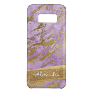 Gold & Blue Marble with Gold Foil Glitter Monogram Case-Mate Samsung Galaxy S8 Case
