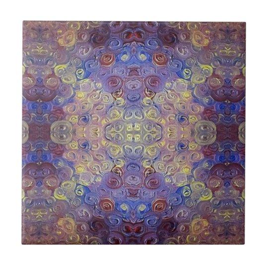 gold blue red paint swirls ceramic tile