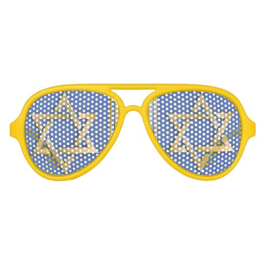 Gold Blue Star of David Art Panels Aviator