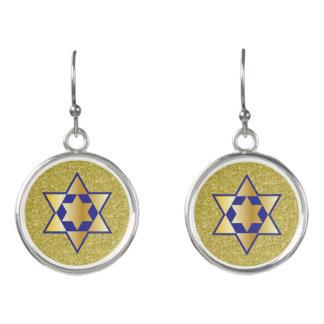 Gold & Blue Star of David Gold Faux Glitter Earrings