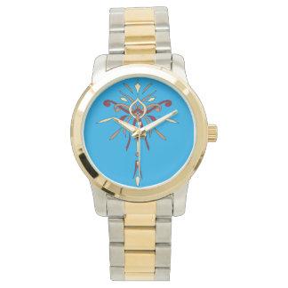 Gold Blue Starburst Watch