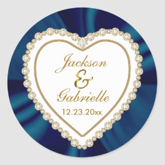 Gold & Blue Wedding for the Mr & Mrs | Personalize Round Sticker