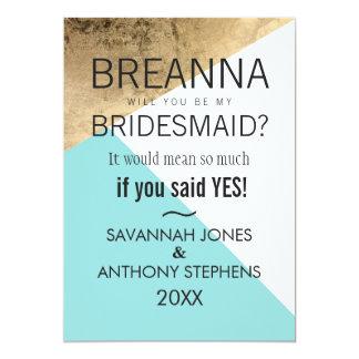 Gold Blue White Geo Triangles Bridesmaids Invites