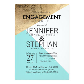 Gold Blue White Geo Triangles Engagement Party 13 Cm X 18 Cm Invitation Card