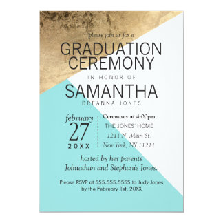 Gold Blue White Geo Triangles Graduation Ceremony 13 Cm X 18 Cm Invitation Card