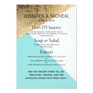 Gold Blue White Geo Triangles Wedding Menu 13 Cm X 18 Cm Invitation Card
