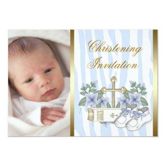 Gold Blue Zebra Baby Boy Photo Christening 13 Cm X 18 Cm Invitation Card