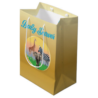 Gold & Blue Zoo Animal Baby Shower Bag