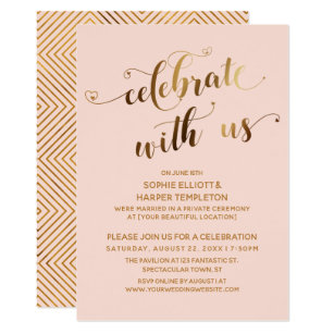 Gold U0026 Blush Celebrate With Us Post Wedding Party Invitation