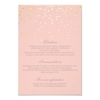 Gold Blush Confetti Wedding Details - Information 9 Cm X 13 Cm Invitation Card