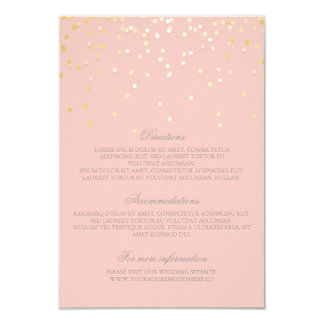 Gold Blush Confetti Wedding Details - Information Card