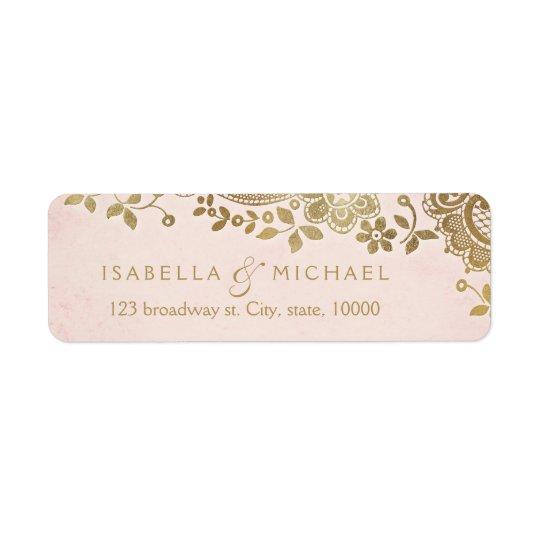 Gold blush elegant lace wedding return address