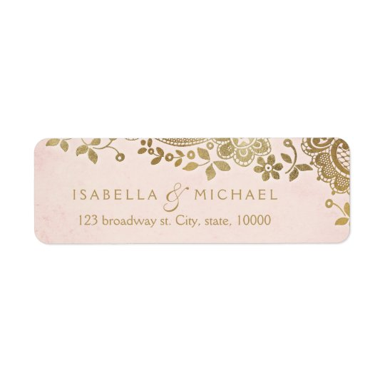 Gold blush elegant lace wedding return address return address label