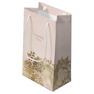 Gold blush elegant vintage lace wedding favor bag