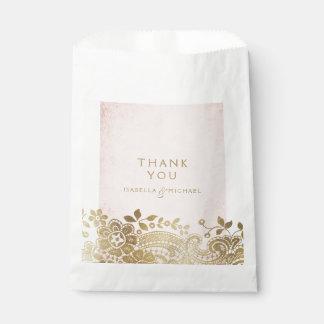 Gold blush elegant vintage lace wedding favor favour bags