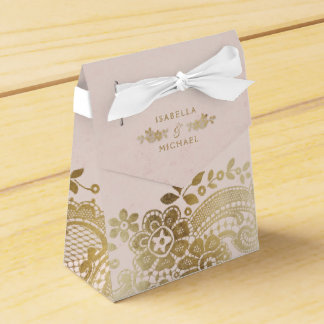 Gold blush elegant vintage lace wedding favor favour box